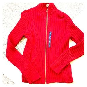 NWT Med red Chaps sweater with gold zipper